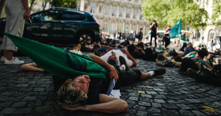 Extinction Rebellion activists in Paris on August 31, 2019